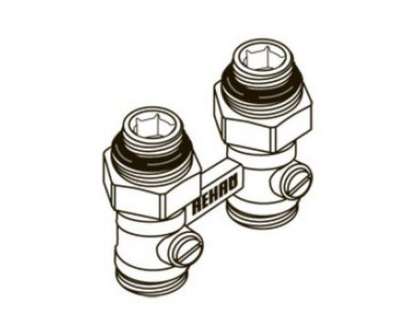 14035 2 800x600 1 Блок шаровых кранов REHAU используется в системах отопления. Это пара шаровых кранов, применяющихся в качестве запорной арматуры и для соединения радиаторов с нижним подключением и соединительными стальными трубками из серий REHAU.
