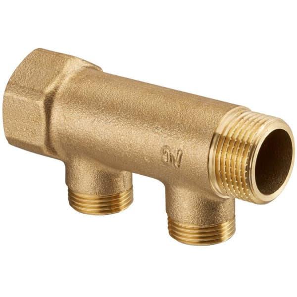 9014.970 Распределительная гребенка (коллектор) Овентроп для систем водоснабжения: 1 внутренняя х 1 наружная резьба, отводы для присоединения контуров 3/4 наружная резьба, 2 контура.