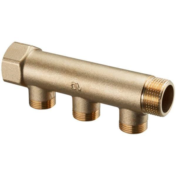 9016.970 Распределительная гребенка (коллектор) Овентроп для систем водоснабжения: 1 внутренняя х 1 наружная резьба, отводы для присоединения контуров 3/4 наружная резьба, 3 контура.