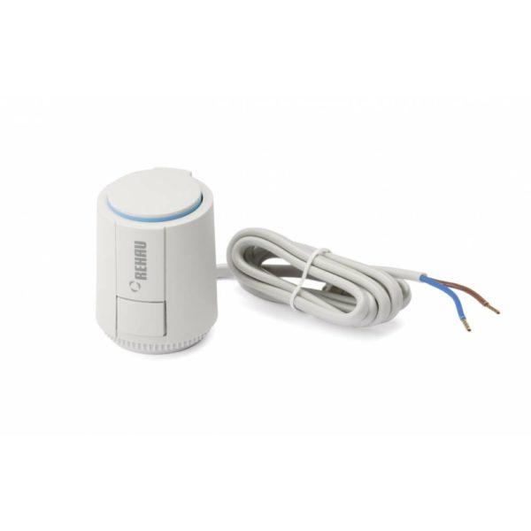 954 d131 Тороидальный трансформатор Rehau 24 В Для монтажа на вентилях коллектора. Монтаж и демонтаж производится защелкиванием при помощи адаптера для вентиля и кнопки. Индикатор функционирования для контроля положения вентиля. Принцип действия: в обесточенном состоянии вентиль закрыт. Присоединительные провода: 2 x 0,5 мм2; длиной 1 м. Поставляется открытым для более легкого монтажа. Благодаря этому возможен режим обогрева без подключения электрики в период строительных работ.