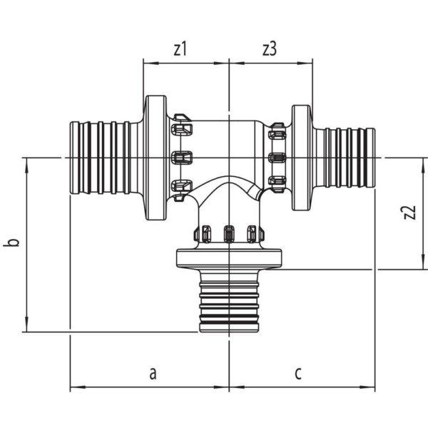 M 34717 14 RAUTITAN PX RX Тройник с уменьшенным боковым торцевым проходом Используется для монтажа систем водоснабжения и отопления с трубами RAUTITAN stabil и RAUTITAN flex. Материал: *PPSU (полифенилсульфон).