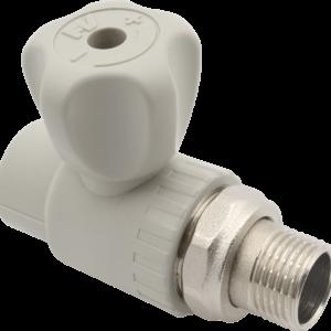 FV-Plast Кран шаровой для радиатора прямой ф20-1/2нар. PP-R серый A314020000 Чехия