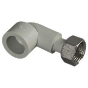 Уголок с накидной гайкой 90° ф25-3/4внут. PP-R серый 227025 FV-Plast