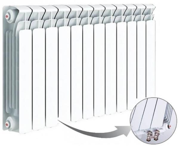 Радиатор биметаллический rmvrp 500/10 ( нижнее подключение Правое )