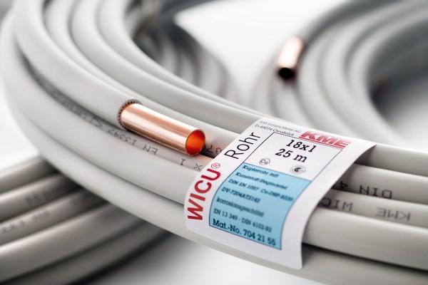 Труба медь в оплетке ф22х1,0ммх 6м KME WICU (Германия) 7042157 (куски по 6м.)