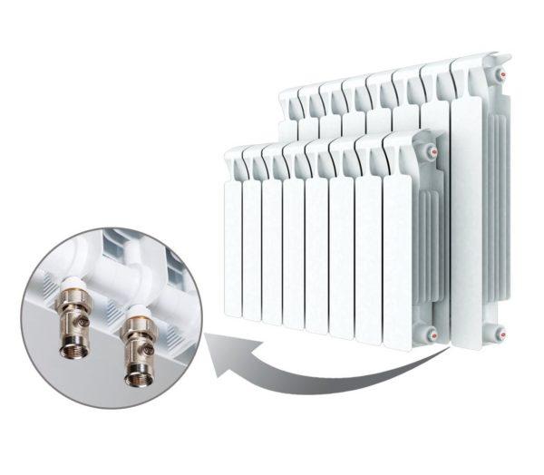Радиатор биметаллический Rifar Monolit 3/4 500/12 ( нижнее подключение левое)