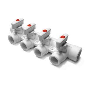 PP-R Коллектор с 4 выходами белый 25-20