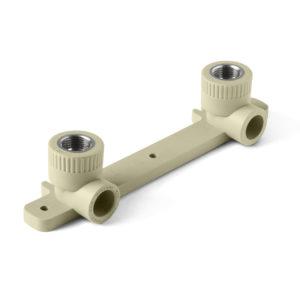 PP-R Угольник двойной с креплением комбинированный ВР серый 20-1/2
