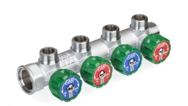 22320eae5c8d120f87765bdc165a4803 e1601216546674 Хромированный модульный коллектор MULTIFAR (ВР- НР) МР проходной регулирующий с 4 отводами. МР - метрическая резьба.