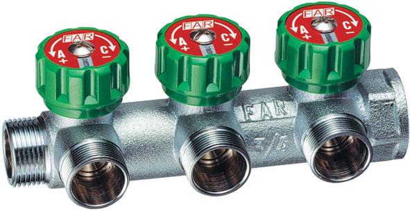3850 Хромированный модульный коллектор MULTIFAR (ВР- НР) МР проходной регулирующий с 3 отводами. Коллектор с соединением FLAT-FACED.