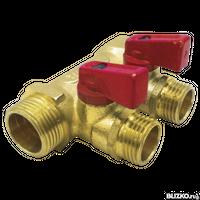 Коллектор TST 3/4x16x2 с шаровыми кранами 2 выхода красный