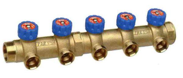 5 отводов Коллектор MULTIFAR (ВР- НР) МР проходной регулирующий с 5 отводами. Изготовлен из латуни стойкой к дезоцинковыванию для пластиковых и металлопластиковых труб.