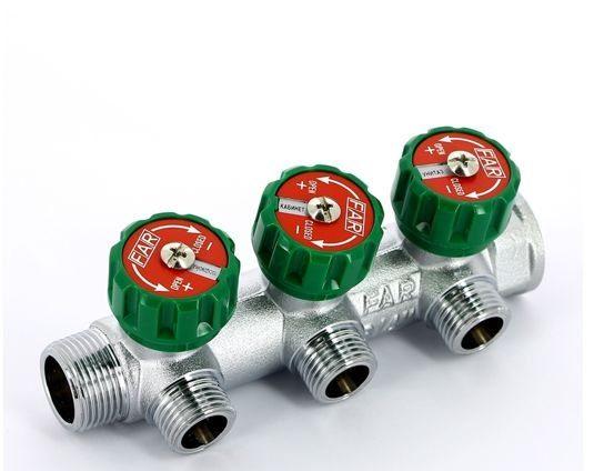 8319462925 e1601220187627 Хромированный модульный коллектор MULTIFAR (ВР- НР) проходной регулирующий с 3 отводами. Коллектор с соединением FLAT-FACED.