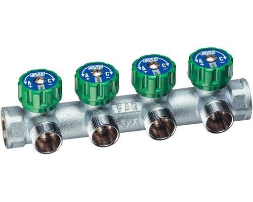 far 3855 500x400 1 Хромированный модульный коллектор MULTIFAR (ВР- НР) МР проходной регулирующий с 4 отводами. МР - метрическая резьба.