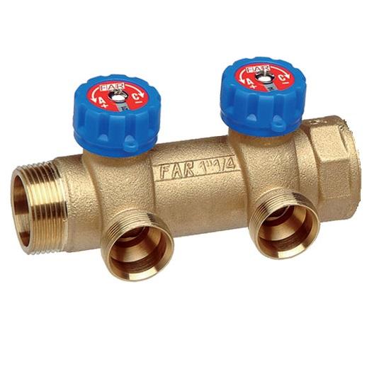 far Коллектор MULTIFAR (ВР- НР) МР проходной регулирующий с 2 отводами. Изготовлен из латуни стойкой к дезоцинковыванию для пластиковых и металлопластиковых труб.