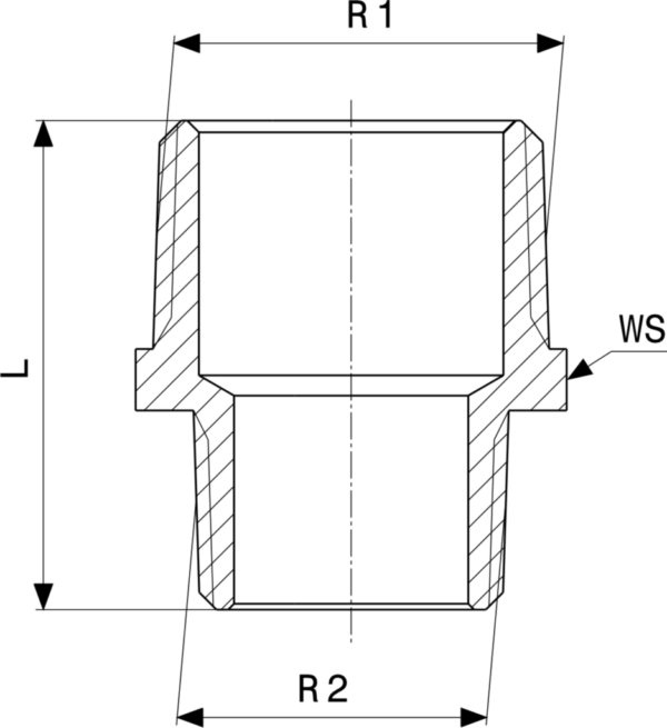 ZMm3245l25 Размер: R-Rp Резьба с насечками, внешний многогранник для фиксации гаечным ключом. Viega отвечают соответствующим нормам и правилам. Эти части имеют достаточную толщину стенки. Обусловленные производственным процессом напряжения сняты путем отжига.