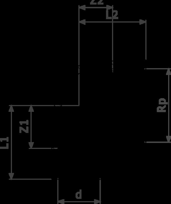 ZMm94090Gl25 - бронза - соединение под пайку, Rp-резьба  d = внешний диаметр трубы Rp = внутренняя цилиндрическая резьба