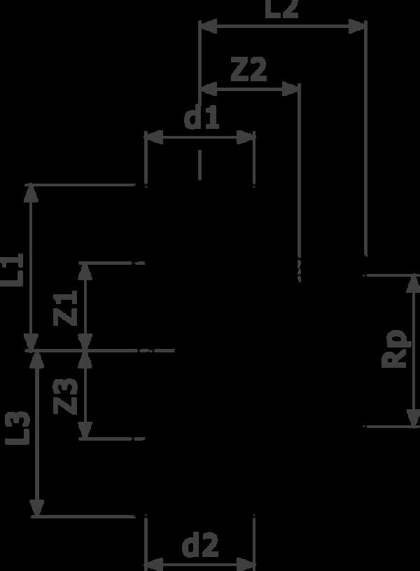 ZMm94130Gl25 - соединение под пайку,  Rp = внутренняя цилиндрическая резьба