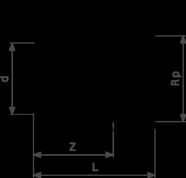 ZMm94246Gl25 Скорость выполнения пресс-соединений Viega действительно впечатляет. После всего трех подготовительных действий – отрезания трубы нужной длины, вставления пресс-фитинга и проверки глубины вставки – опрессовка занимает всего несколько секунд. Нет необходимости в калибровке, как в других трубопроводных системах. Это позволяет сэкономить от 30 до 50% времени по сравнению с пайкой, в зависимости от диаметра трубы. Поскольку все пресс-соединения оснащены гребнем с двойной опрессовкой, опрессованные соединения вдвойне надежнее.  бронза - однораструбный соединительный элемент, Rp-резьба  d = внешний диаметр трубы Rp = внутренняя цилиндрическая резьба